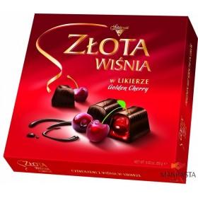Šokoladiniai saldainiai su alkoholizuotomis vyšniomis likeryje GOLDEN CHERRY 250g