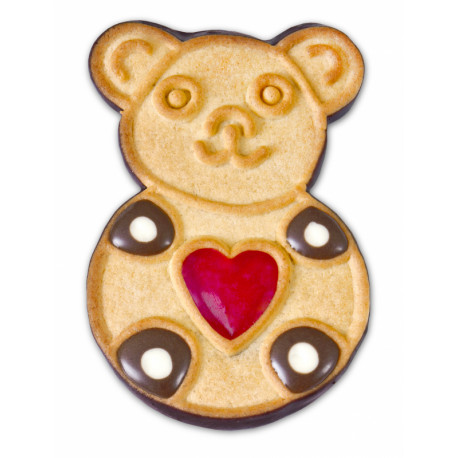 Decorated cookies with cream and jelly partially covered with cocoa glaze BEARS 1kg