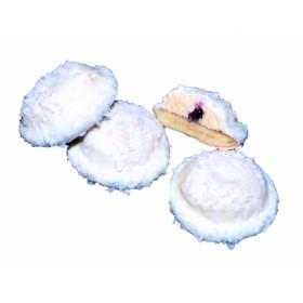 Sausainiai su kokosų skonio kremu, aviečių skonio įdaru ir kokosų drožlėmis KOKOSINIAI 0,9 kg