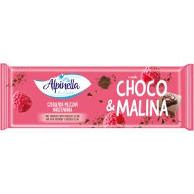 Pieninis šokoladas su šokolado ir aviečių skonio įdaru ALPINELLA 270 g