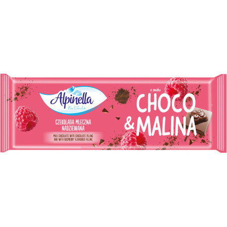 Milk chocolate with chocolate filling and with raspberry filling ALPINELLA 270 g