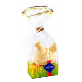 Balto glaisto figūra ir kakavinio glaisto kiaušiniai-kakavos-pieninio skonio VIŠTA 50g