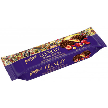 Chocolate-coated biscuits with caramel, cherry granules, rice crisp and alcohol DARK CHERRY 140g.