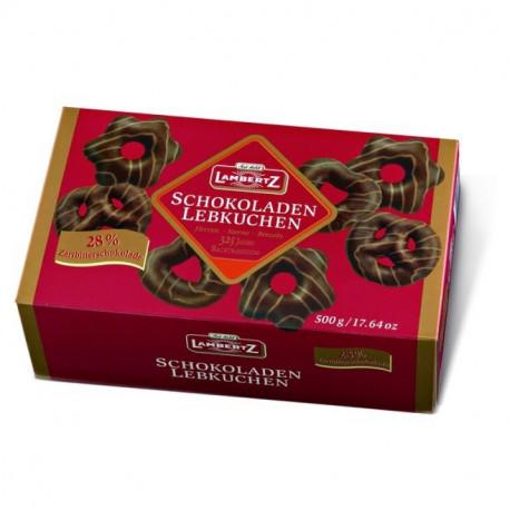 Meduoliai su juoduoju šokoladu, dekoruoti pieniniu šokoladu LAMBERTZ GINGERBREADS 500g.