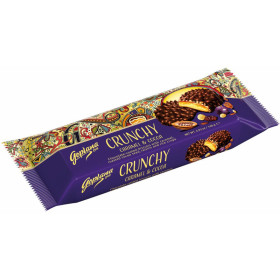 Biscuits with caramel, cocoa beans, raisins and crunchy rice in dark chocolate DARK COCOA 140g.