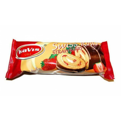 Biscuit roll with strawberry filling and cocoa glaze 300g